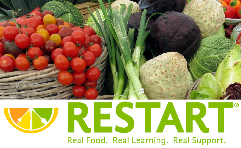 vegetables and Restart logo