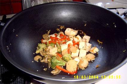 Veggie Tofu Stir-Fry With Sesame Seeds Over Brown Rice
