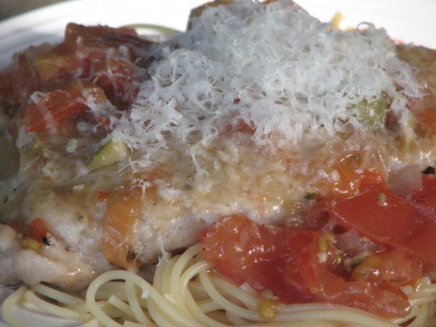 Pork Scalloppini With Green Olives, Tomato And White Wine