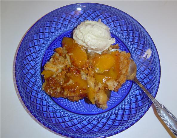 Crock Pot Peach Dump Dessert. Photo by The Left Handed Chef