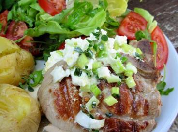 Oregano Lamb Steaks With Lemon, Olive Oil and Feta Cheese Mash.