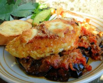 Oven Baked Chicken and Aubergine (Egg Plant) Parmigiana.