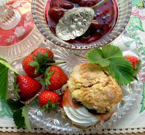 English Scones With Mixed Summer Berries and Cream.