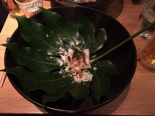 Sashimi on a leaf