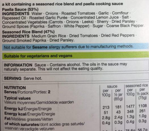 """""""3 easy step paella kit"""" ingredients"""