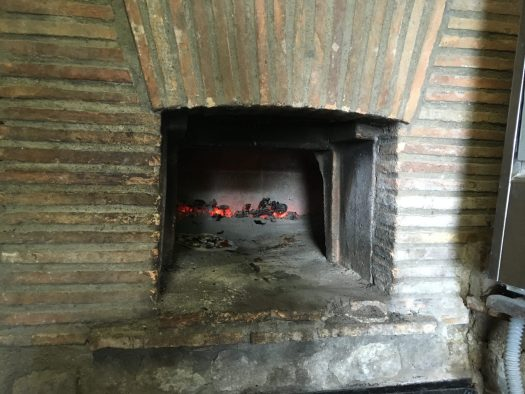 The fire oven, ready for our pizzas