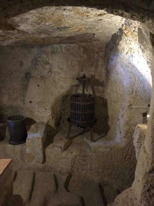 Wine barrel at the Jewish Museum in Pitigliano