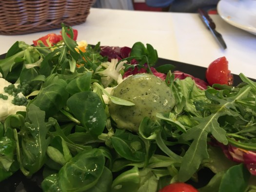Salad with basil ice cream