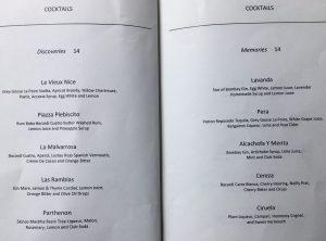 Cocktails list