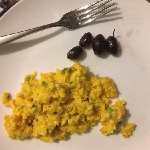 Silky scrambled eggs with Kalamata olives