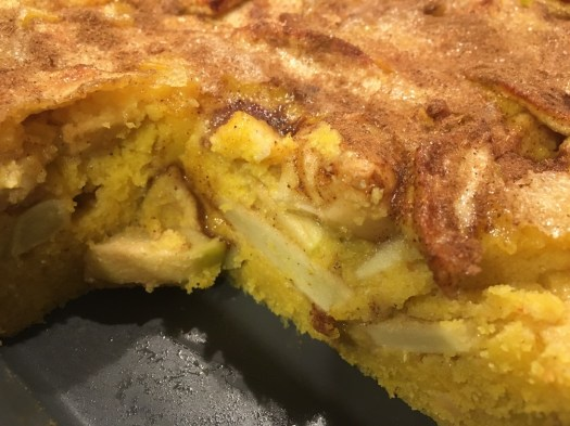 Apple and polenta cake - cut showing the layers