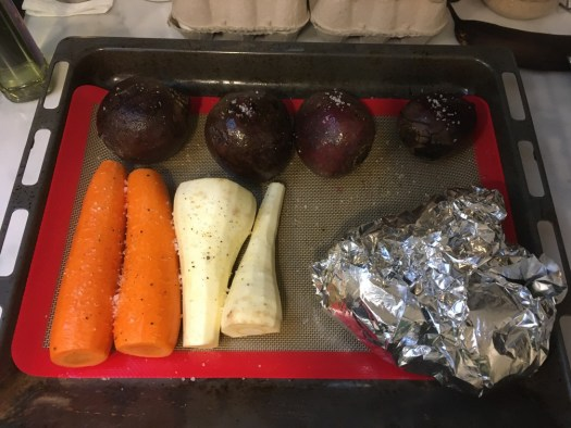 Roasting beetroots, parsnips, carrots and apples