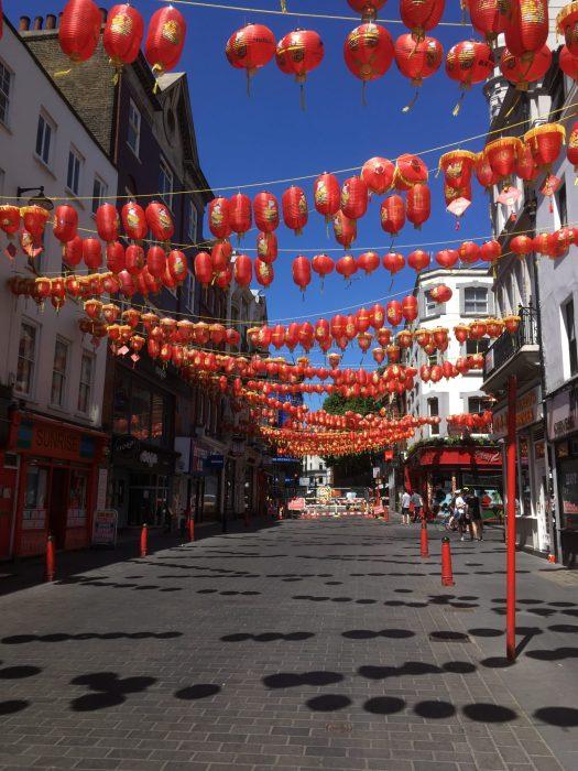 A very empty Wardour street in Chinatown