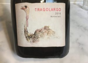 Label for Tragolargo 2018 - wine with Monastrell grapes