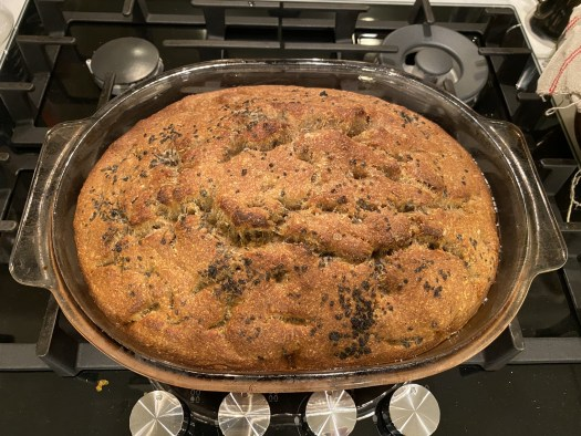Wholemeal focaccia, baked