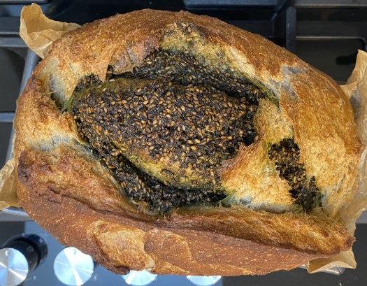 The bigger za'atar bread loaf, from above