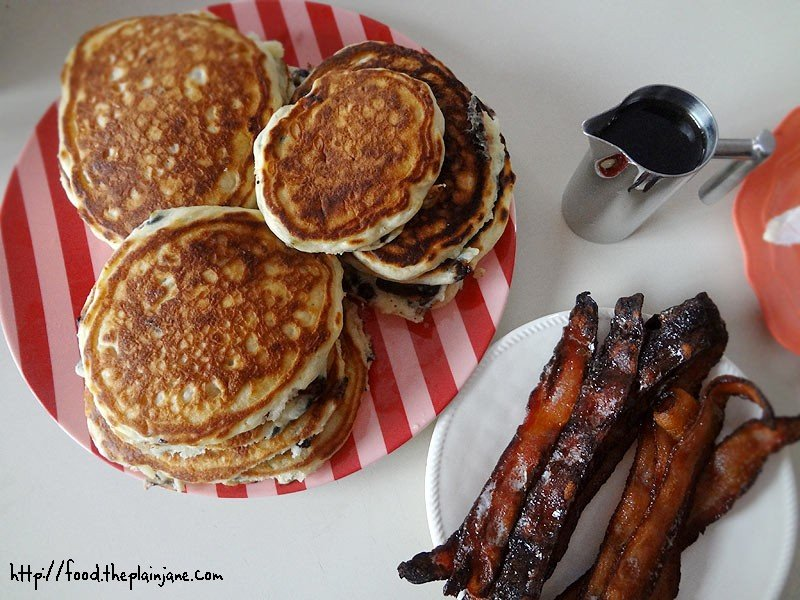 fluffy homemade pancakes & candied bacon