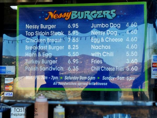 Nessy Burgers menu