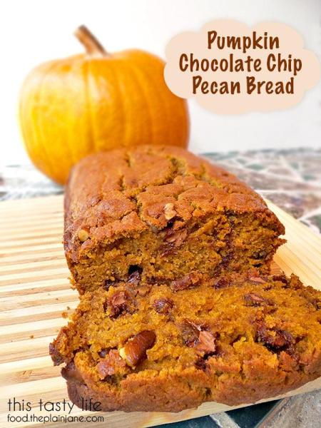 Pumpkin Chocolate Chip Pecan Bread | This Tasty Life - food.theplainjane.com