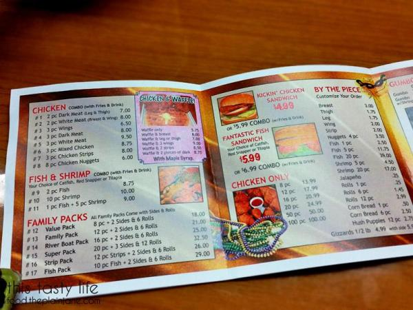 Louisiana Fried Chicken and Waffles Menu - Left
