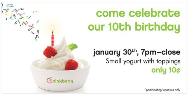 Pinkberry's 10 Year Anniversary Special
