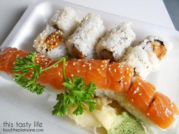 Tiger Roll with Spicy Tuna Roll - Deli Sushi and Desserts in San Diego / This Tasty Life