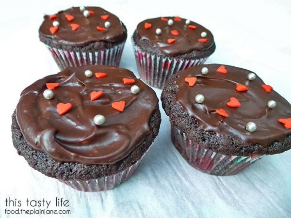 Valentine Chocolate Cupcakes with Four Roses Bourbon Ganache | This Tasty Life