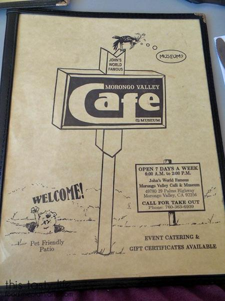 Morongo Valley Cafe - Menu Front