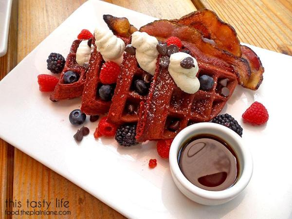 Red Velvet Waffles with Bacon | Kitchen 4140 - San Diego, CA