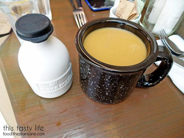 Coffee and a tiny milk bottle at Jake & Eggs | San Diego - Ocean Beach