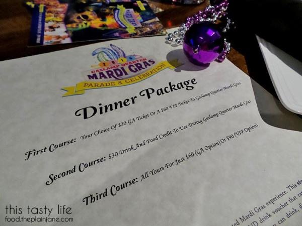 Gaslamp Mardi Gras Dinner Packages