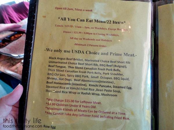 Meat Choices Menu - Hae Jang Chon / Los Angeles, CA