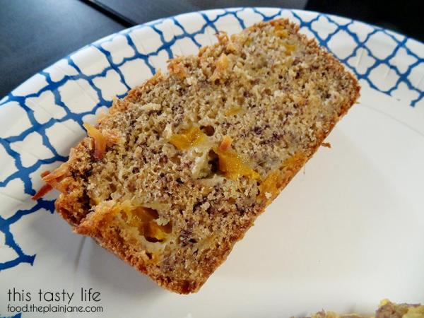 Slice of Jackfruit Banana Bread with Lime and Coconut by This Tasty Life
