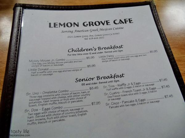 Menu 1 | Lemon Grove Cafe - San Diego, CA
