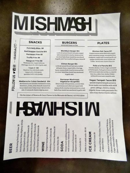 Food Menu at | MishMash - San Diego, CA | This Tasty Life