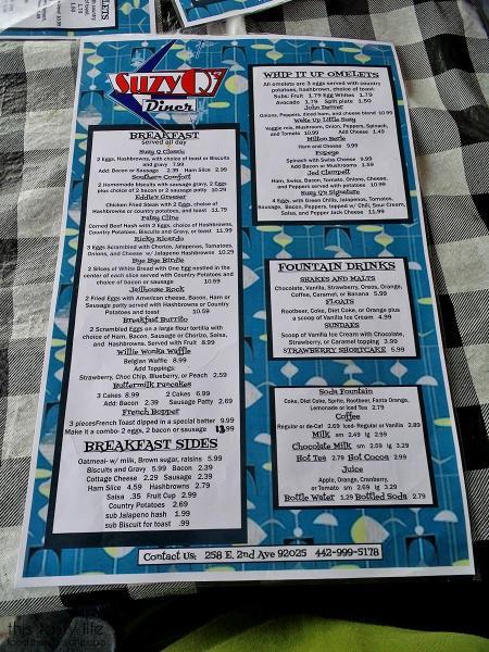 Breakfast Menu - Suzy Q's Diner - Escondido, CA