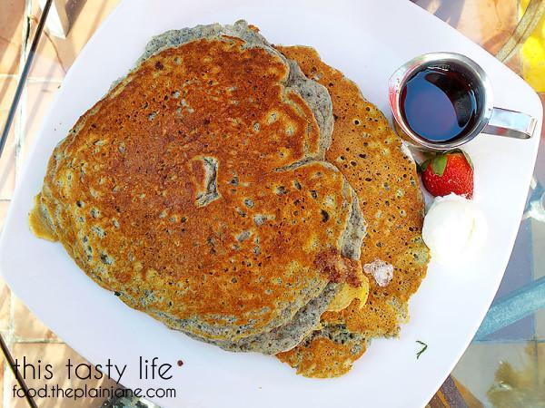 Blue Cornmeal Flapjacks at Parkhouse Eatery   University Heights - San Diego, CA   This Tasty Life - http://food.theplainjane.com