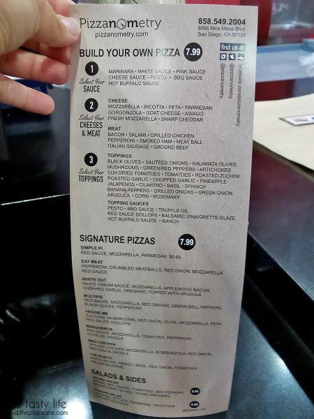 A peek at the menu at Pizzanometry | Mira Mesa / San Diego, CA / This Tasty Life - http://food.theplainjane.com