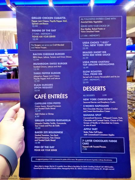 Menu Page 1 at The Cafe at Harrah's Rincon Casino | Valley Center, CA