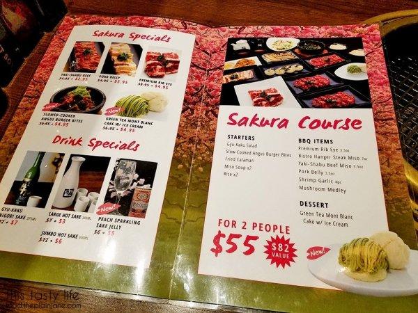 Sakura Course Special Menu | Gyu-Kaku Japanese BBQ - Scripps Ranch / San Diego, CA