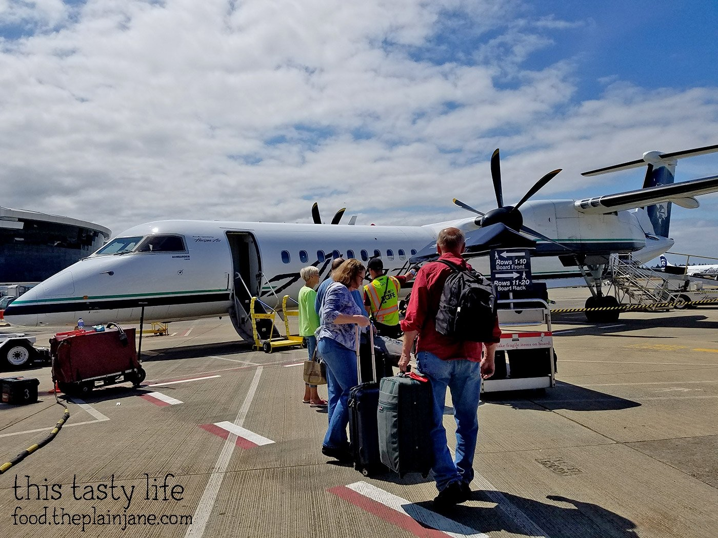We had to ride on a small propeller plane for part of our journey to Spokane! It was cool, too, since they boarded from the front AND the back of the plane!