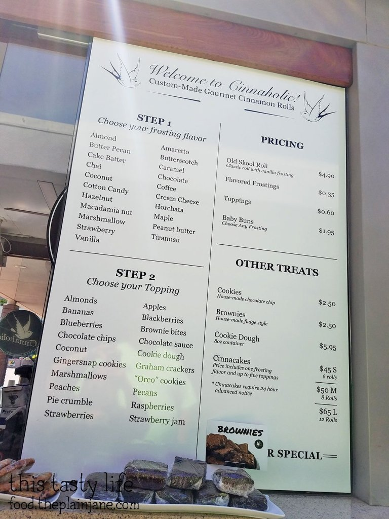 Frosting and Toppings Menu at Cinnaholic Gourmet Cinnamon Rolls | San Diego, CA
