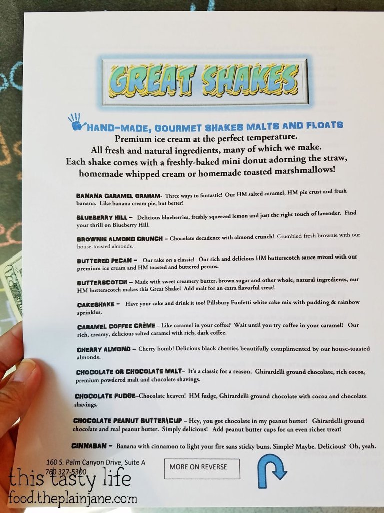 Menu Side 1 - Great Shakes | Palm Springs, CA