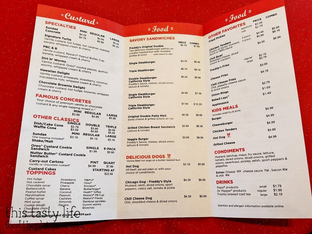 Menu - Freddy's Frozen Custard & Steakburgers | National City - San Diego, CA