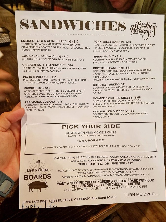 Menu at Brothers Provisions | Rancho Bernardo, CA