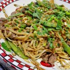 Noodles with Peanut Sauce, Beef, and Sugar Snap Peas