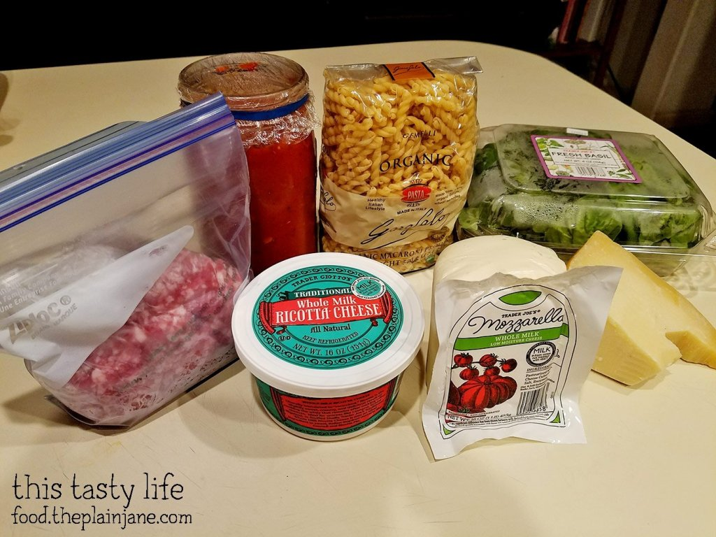 Stuff you need to make a pasta bake.