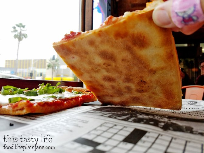 The crispy crust on the Beach Style Pizza at Square Pizza Co - Pacific Beach - San Diego, CA | This Tasty Life