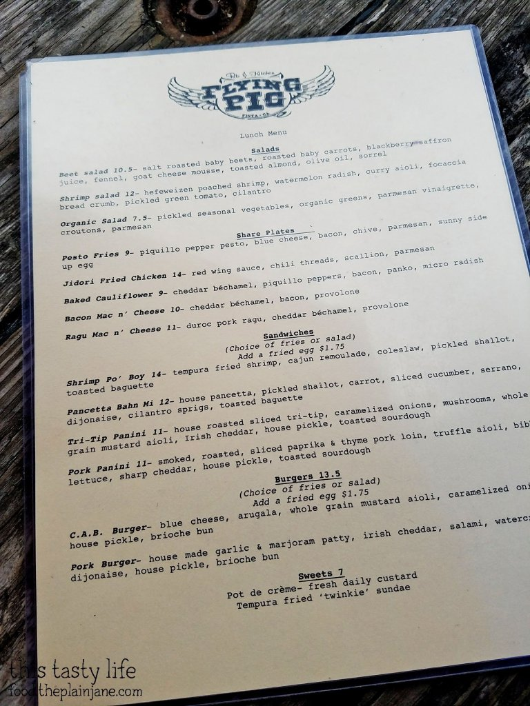 Lunch Menu at Flying Pig Pub & Kitchen | Vista, CA