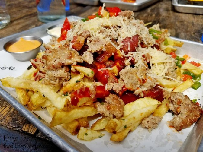 Dirty Fries with Meatballs and Pork at Soda & Swine | San Diego, CA